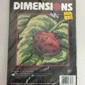 Vintage 1996 Dimensions Lady Bug Cross Stitch Kit